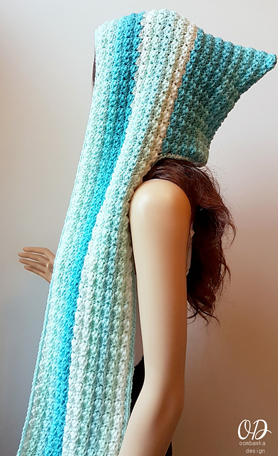 Crochet Patterns Galore Faerie Mist Hooded Scarf