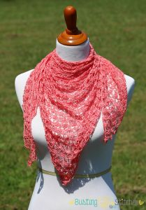 Peach Hana Triangle Shawl