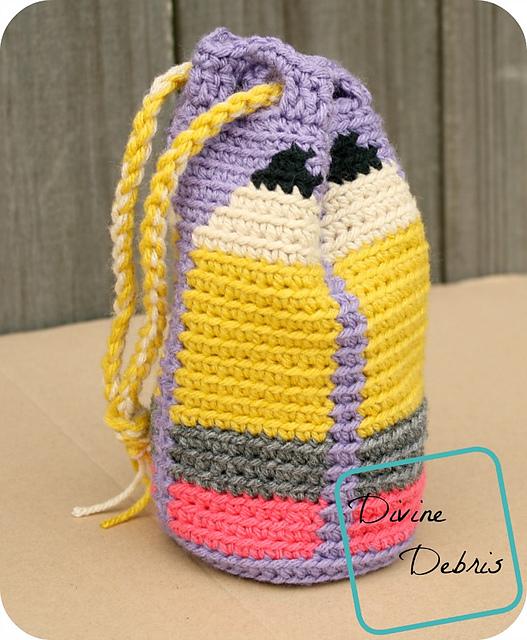 Crochet Patterns Galore Dancing Pencils Drawstring Bag
