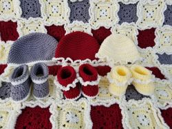 Rag Quilt Baby Hat and Botties