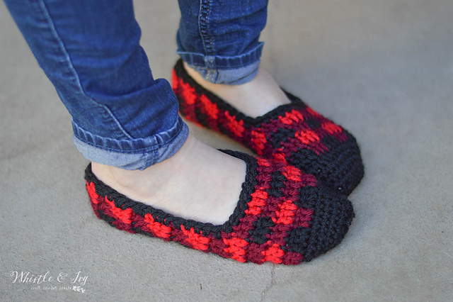 Crochet Patterns Galore Plaid Slippers