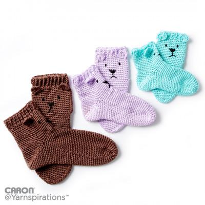 Crochet Patterns Galore - Crochet Bear Feet Slipper Socks