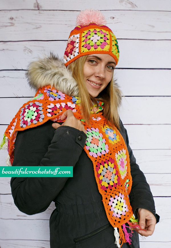 Crochet Patterns Galore Granny Square Beanie And Scarf