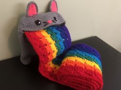 Rainbow Barf Cat Plush Scarf