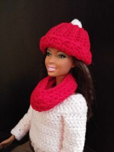 Pom Pom Toboggan and Infinity Scarf for Barbie