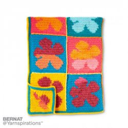 Pop Art Flowers Crochet Blanket
