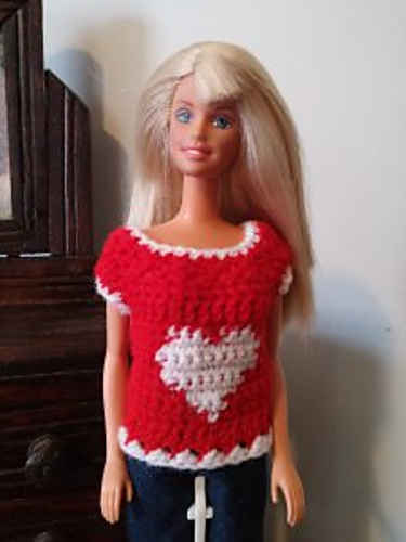 Crochet Patterns Galore Valentines Heart Sweater For Barbie