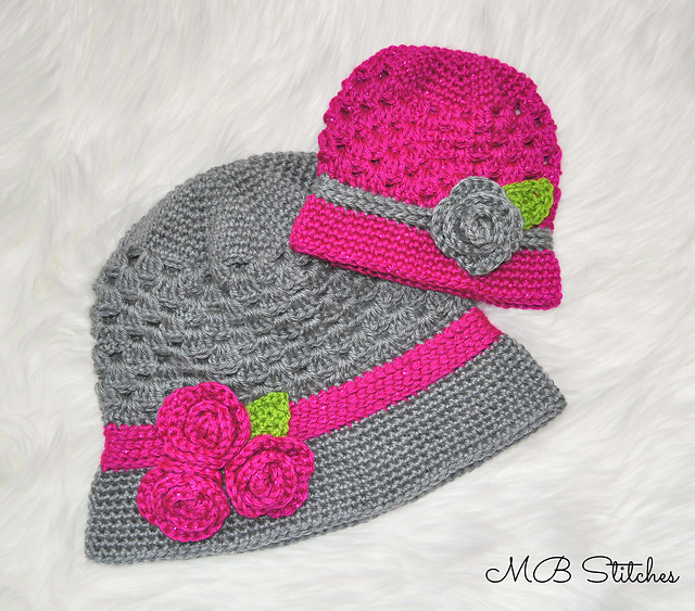Crochet Patterns Galore Mom And Baby Cloche Hat Set