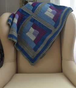Tunisian Crochet Log Cabin Sampler Blanket