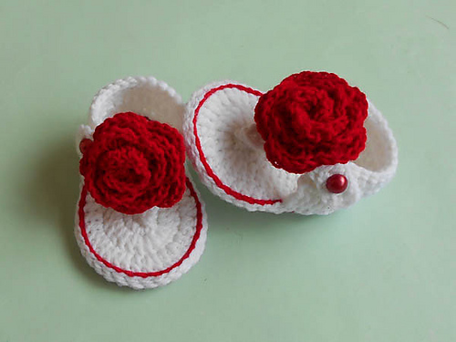 Crochet Patterns Galore Baby Flip Flops Rose Sandals