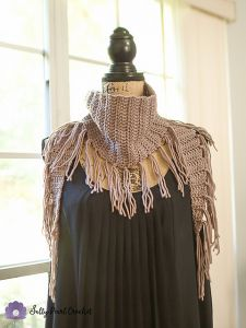 Chic Suede Fringed Triangle Scarf