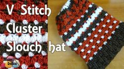 V stitch Cluster Slouch Hat