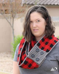 Buttoned Plaid Scarf