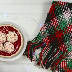 Plaid Holiday Fringe Scarf
