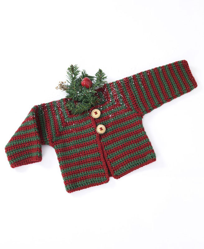 Crochet Patterns Galore Mitered Stripes Baby Sweater