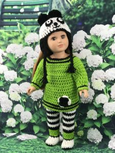 "18"" Doll Green Panda Outfit"