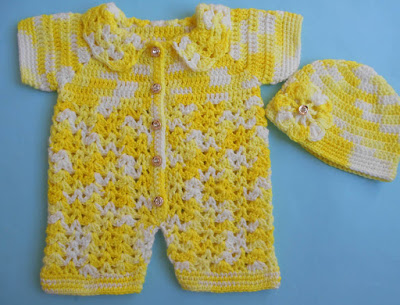 Crochet Patterns Galore Baby Romper Sweater Easy Crocheted Baby