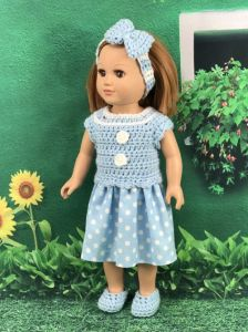 18-inch Doll Polka Dot Dress, Shoes and Headband