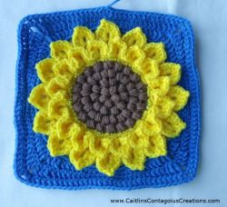 Crocodile Stitch Sunflower Square