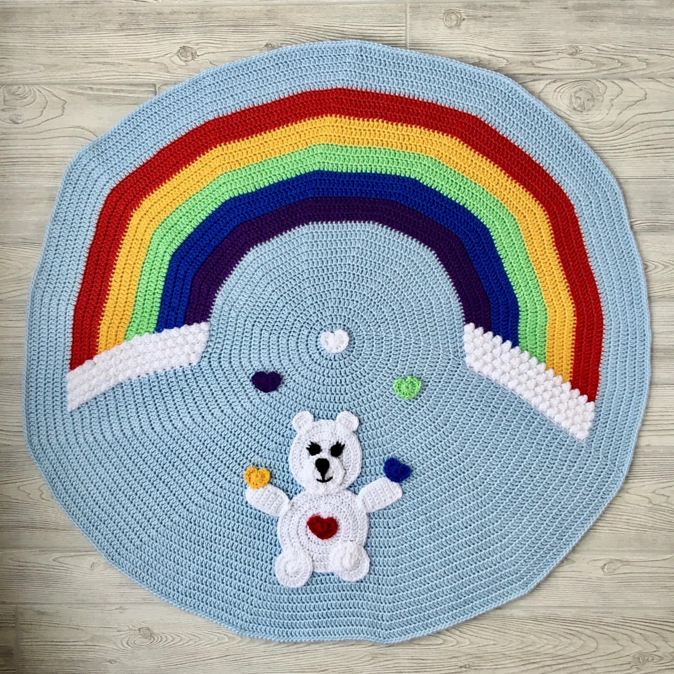 Crochet Patterns Galore Love Bear Rainbow Baby Blanket