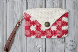 Coral Chic Plaid Wristlet