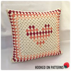Granny Stripe Heart Cushion Cover