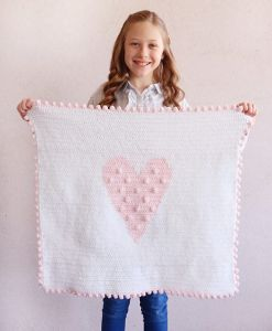 Polka Dot Heart Doll Blanket