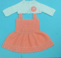 Baby Pearl Dress Jacket#crochet baby frock with bolero jacket