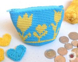 Crochet Flowery Coin Purse