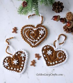 Gingerbread Heart Ornaments