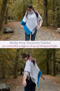 Misty Grey Tunisian Poncho