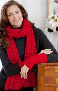 Lacy Bobble Scarf and Wristlets