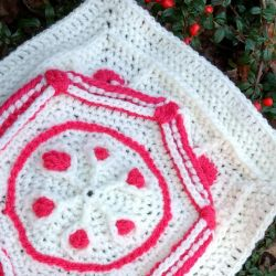 Ruby hexagon granny square