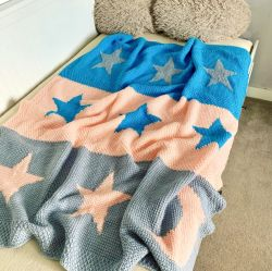 Moon and Stars Tunisian Crochet Blanket