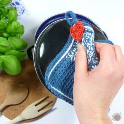 Tunisian Crochet Cottage Potholder