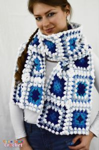 Granny Square Scarf Icy Blues