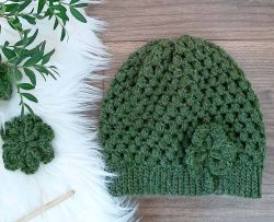 Puff Stitch Hat + Shamrock