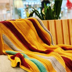 Mustard & Co Tunisian Crochet Blanket