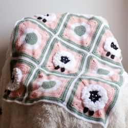 Sheep Granny Square Blanket