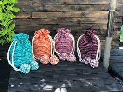 Crochet Pom Pom Drawstring Bag