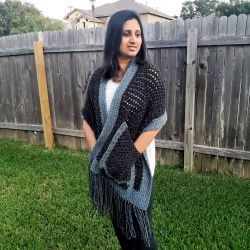 Tunisian Boho Pocket Shawl