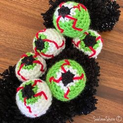 Crochet Bloodshot Eyeballs