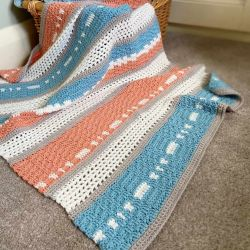 Peaches and Teal Modern Baby Blanket