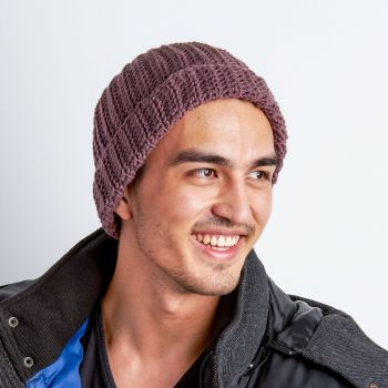 Red Heart Vertical Ridges Hat for Him