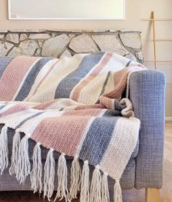 Red Heart Herringbone Mixed Stripes Throw