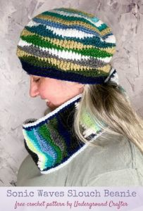 Sonic Waves Slouch Beanie