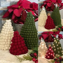 Bobble Stitch Christmas Tree Trio