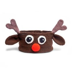 Red Heart Reindeer Basket
