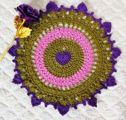 Sweet Purple Heart Doily