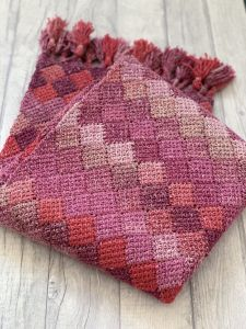 Rose Dreams Entrelac Shawl